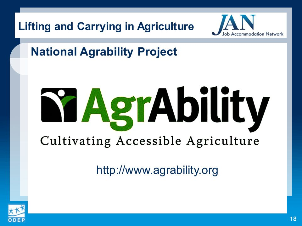 National Agrability Project   Lifting and Carrying in Agriculture 18