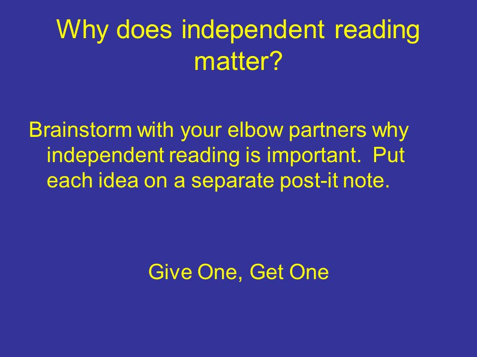Why does independent reading matter.