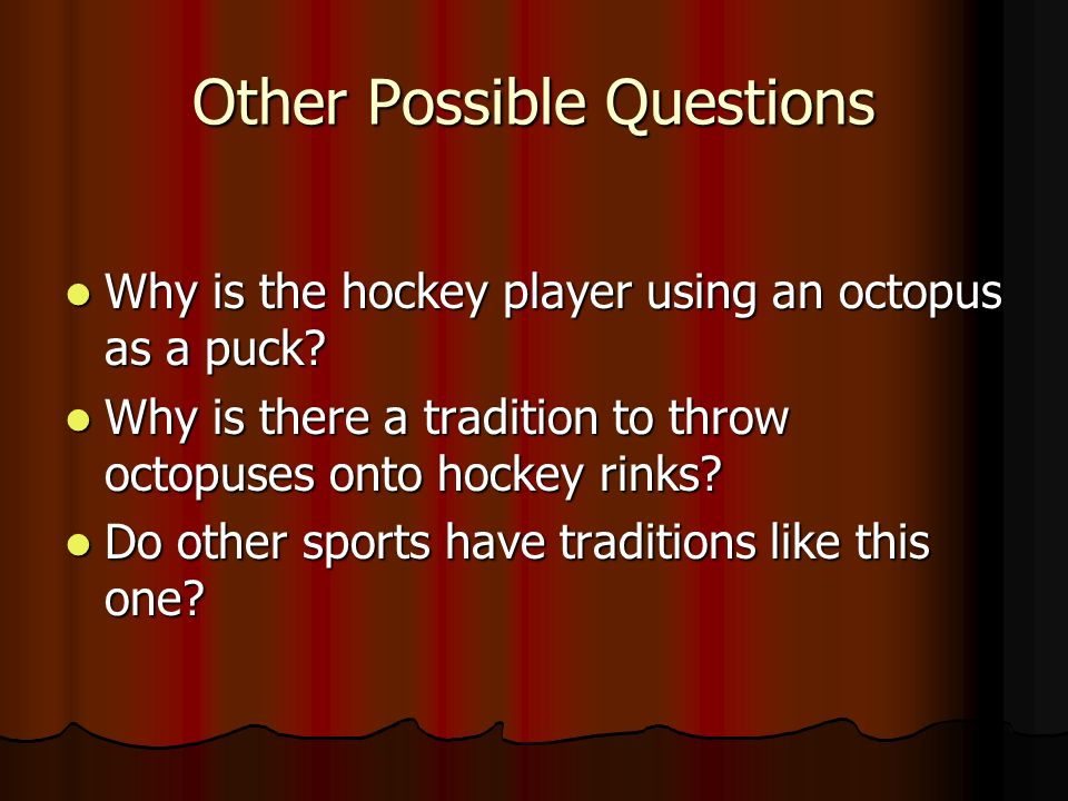 Other Possible Questions Why is the hockey player using an octopus as a puck.