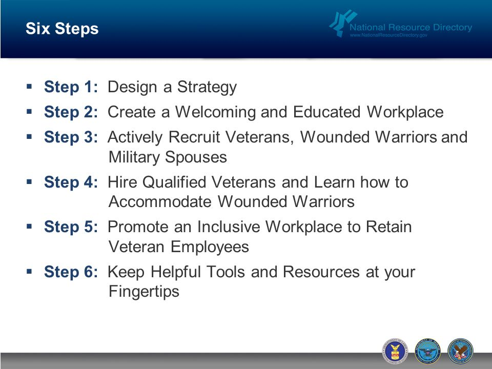 Six Steps Step 1: Design a Strategy Step 2: Create a Welcoming and Educated Workplace Step 3: Actively Recruit Veterans, Wounded Warriors and Military Spouses Step 4: Hire Qualified Veterans and Learn how to Accommodate Wounded Warriors Step 5: Promote an Inclusive Workplace to Retain Veteran Employees Step 6: Keep Helpful Tools and Resources at your Fingertips