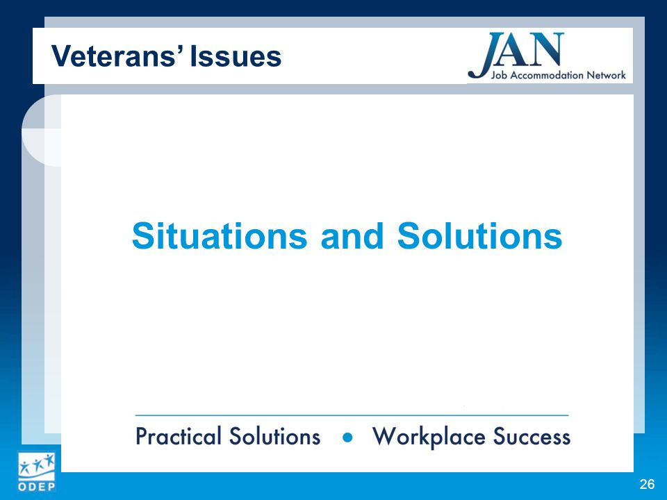 Situations and Solutions Veterans Issues 26