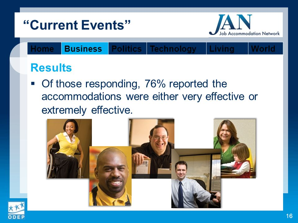 Current Events Results Of those responding, 76% reported the accommodations were either very effective or extremely effective.