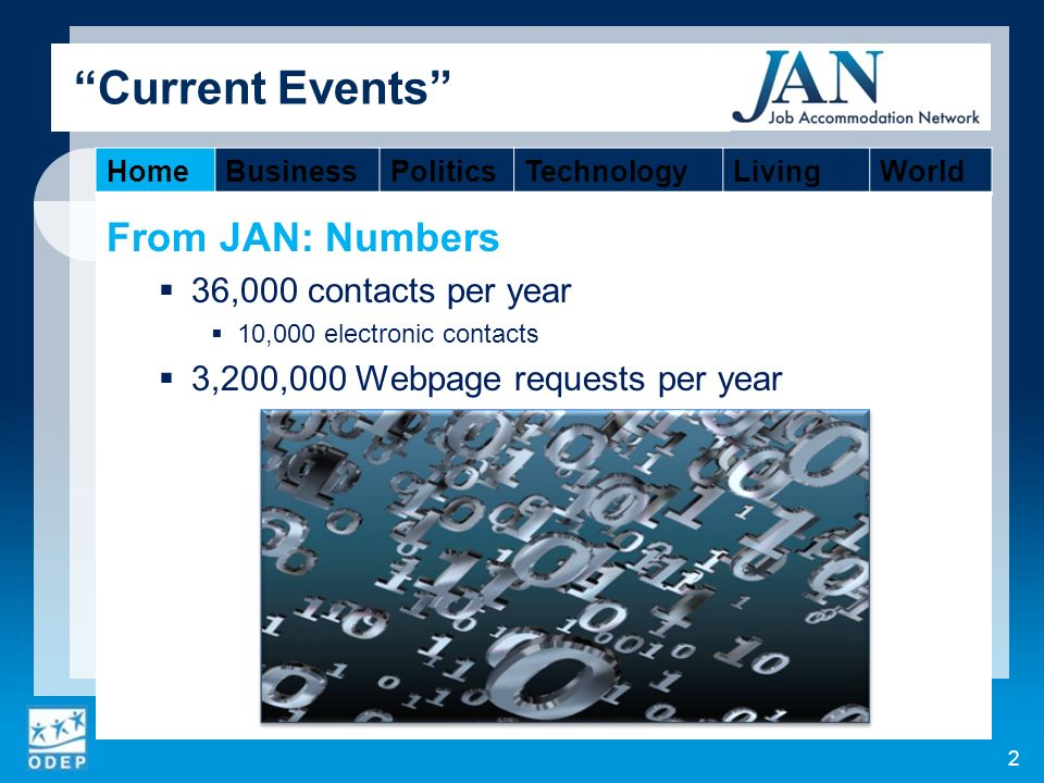 From JAN: Numbers 36,000 contacts per year 10,000 electronic contacts 3,200,000 Webpage requests per year 2 Current Events HomeBusinessPoliticsTechnologyLivingWorld