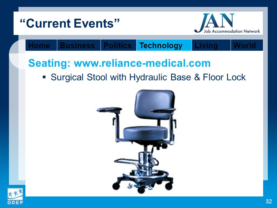 Seating:   Surgical Stool with Hydraulic Base & Floor Lock 32 Current Events HomeBusinessPoliticsTechnologyLivingWorld