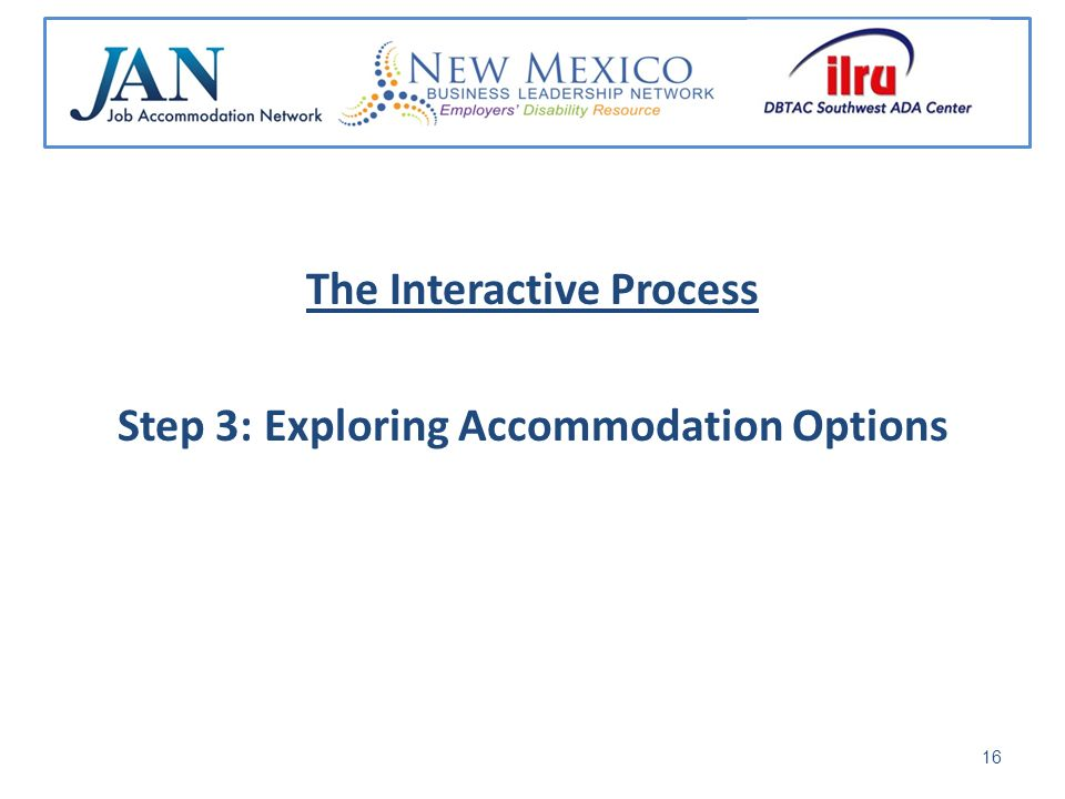 The Interactive Process Step 3: Exploring Accommodation Options 16