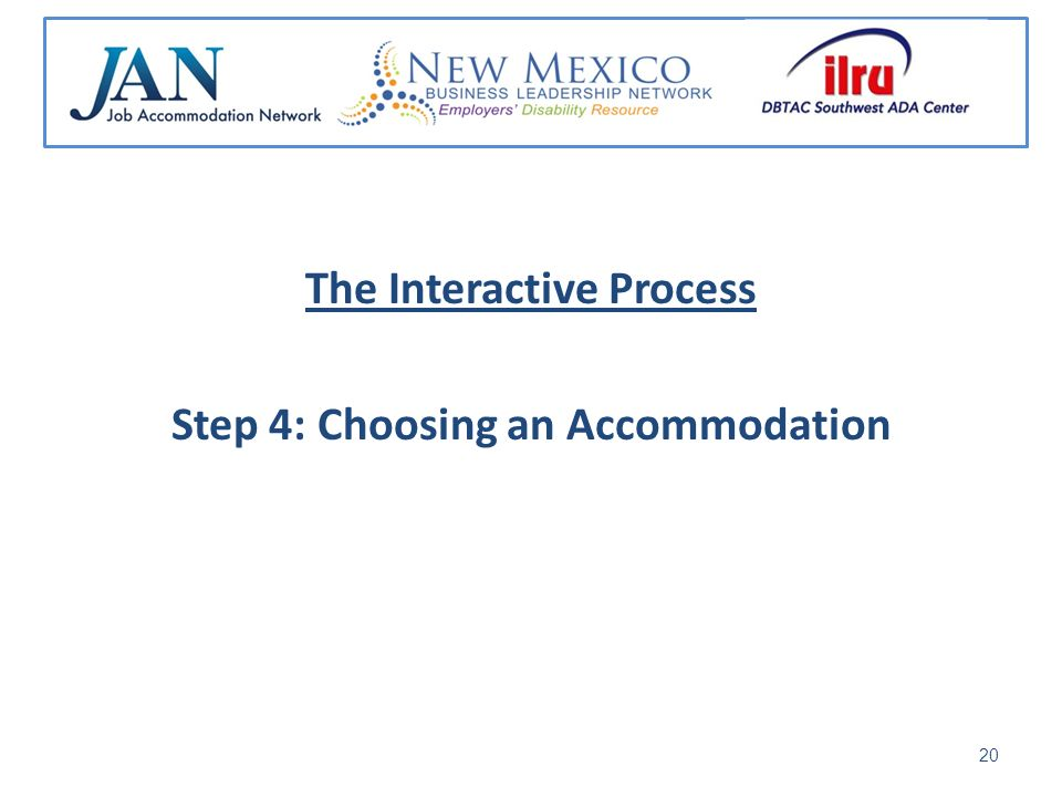 The Interactive Process Step 4: Choosing an Accommodation 20
