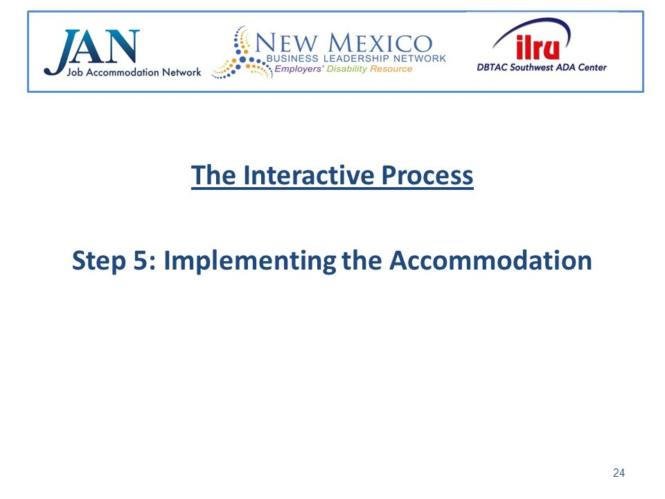 The Interactive Process Step 5: Implementing the Accommodation 24