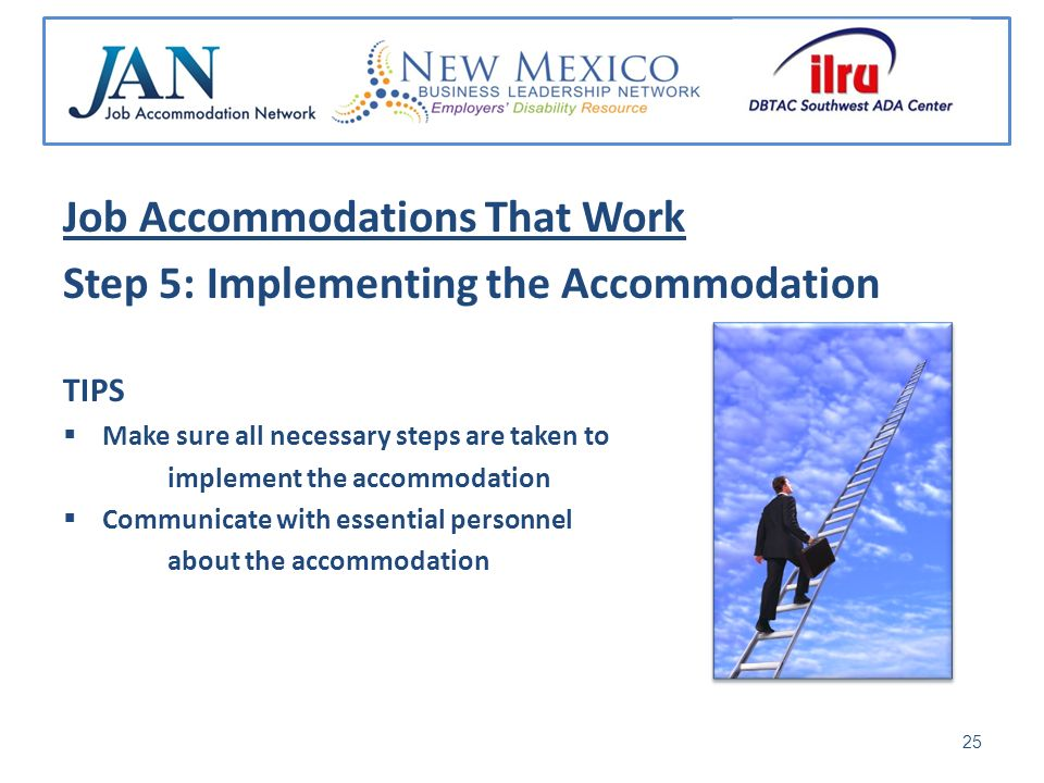 Job Accommodations That Work Step 5: Implementing the Accommodation TIPS Make sure all necessary steps are taken to implement the accommodation Communicate with essential personnel about the accommodation 25