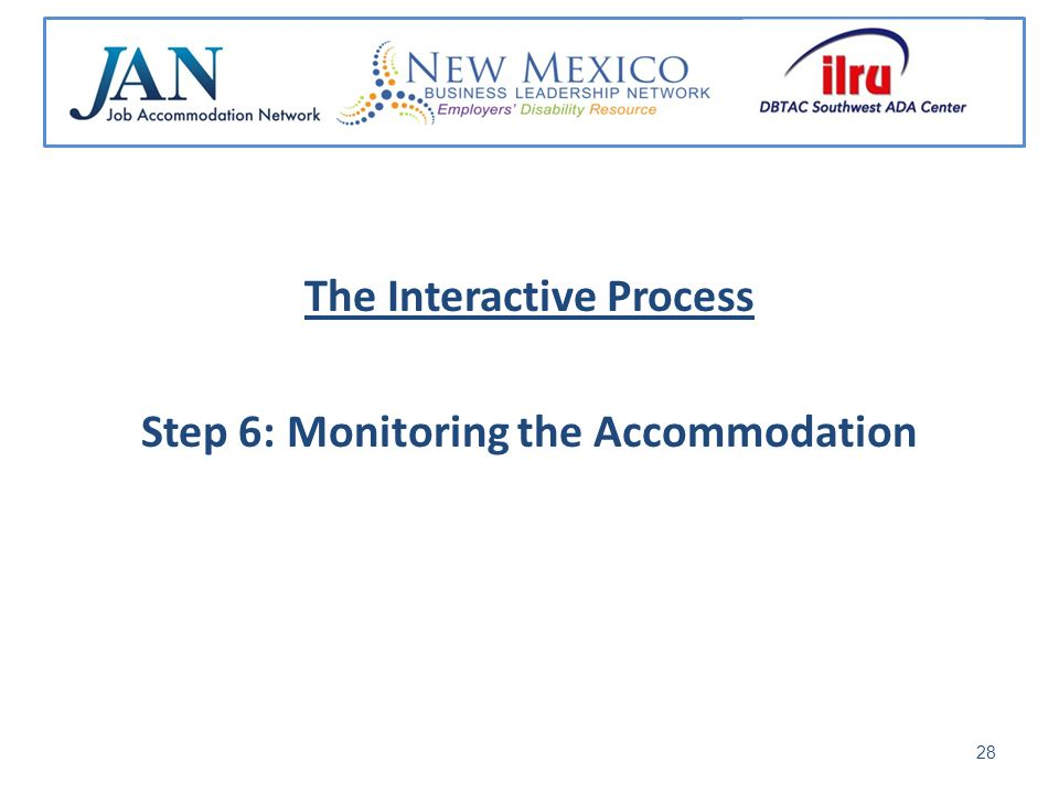 The Interactive Process Step 6: Monitoring the Accommodation 28