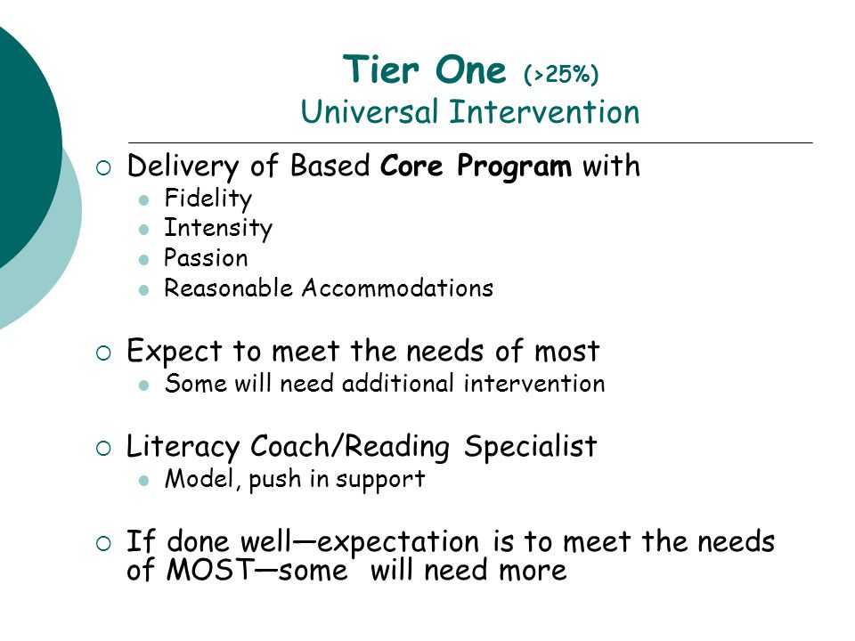 Tier One (>25%) Universal Intervention Delivery of Based Core Program with Fidelity Intensity Passion Reasonable Accommodations Expect to meet the needs of most Some will need additional intervention Literacy Coach/Reading Specialist Model, push in support If done wellexpectation is to meet the needs of MOSTsome will need more