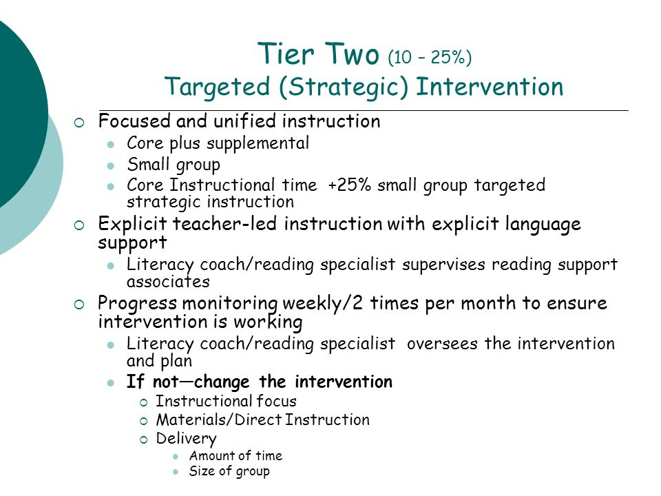 Tier Two (10 – 25%) Targeted (Strategic) Intervention Focused and unified instruction Core plus supplemental Small group Core Instructional time +25% small group targeted strategic instruction Explicit teacher-led instruction with explicit language support Literacy coach/reading specialist supervises reading support associates Progress monitoring weekly/2 times per month to ensure intervention is working Literacy coach/reading specialist oversees the intervention and plan If notchange the intervention Instructional focus Materials/Direct Instruction Delivery Amount of time Size of group