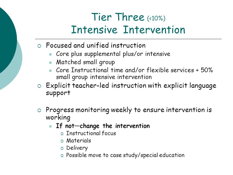 Tier Three (<10%) Intensive Intervention Focused and unified instruction Core plus supplemental plus/or intensive Matched small group Core Instructional time and/or flexible services + 50% small group intensive intervention Explicit teacher-led instruction with explicit language support Progress monitoring weekly to ensure intervention is working If notchange the intervention Instructional focus Materials Delivery Possible move to case study/special education