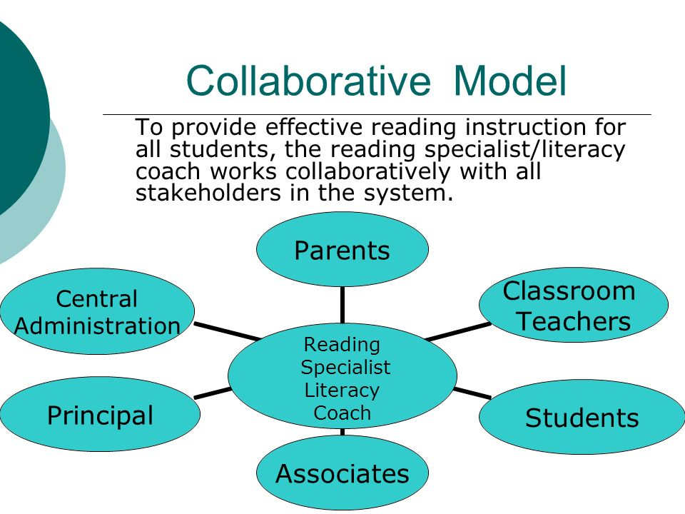 Collaborative Model To provide effective reading instruction for all students, the reading specialist/literacy coach works collaboratively with all stakeholders in the system.