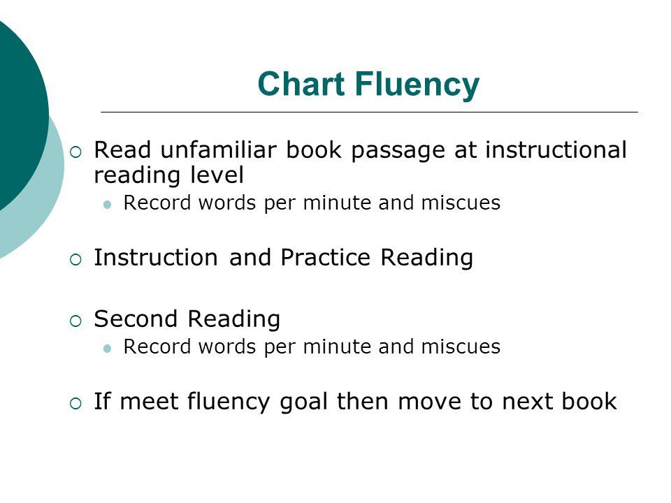 Chart Fluency Read unfamiliar book passage at instructional reading level Record words per minute and miscues Instruction and Practice Reading Second Reading Record words per minute and miscues If meet fluency goal then move to next book
