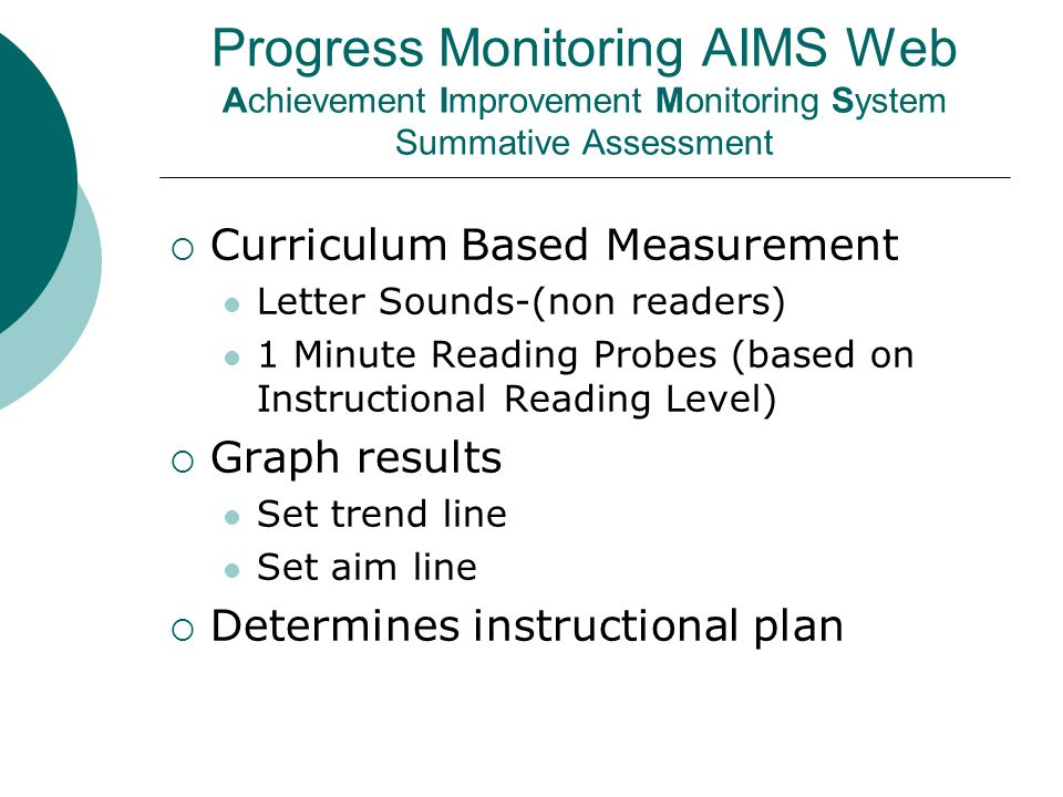 Progress Monitoring AIMS Web Achievement Improvement Monitoring System Summative Assessment Curriculum Based Measurement Letter Sounds-(non readers) 1 Minute Reading Probes (based on Instructional Reading Level) Graph results Set trend line Set aim line Determines instructional plan