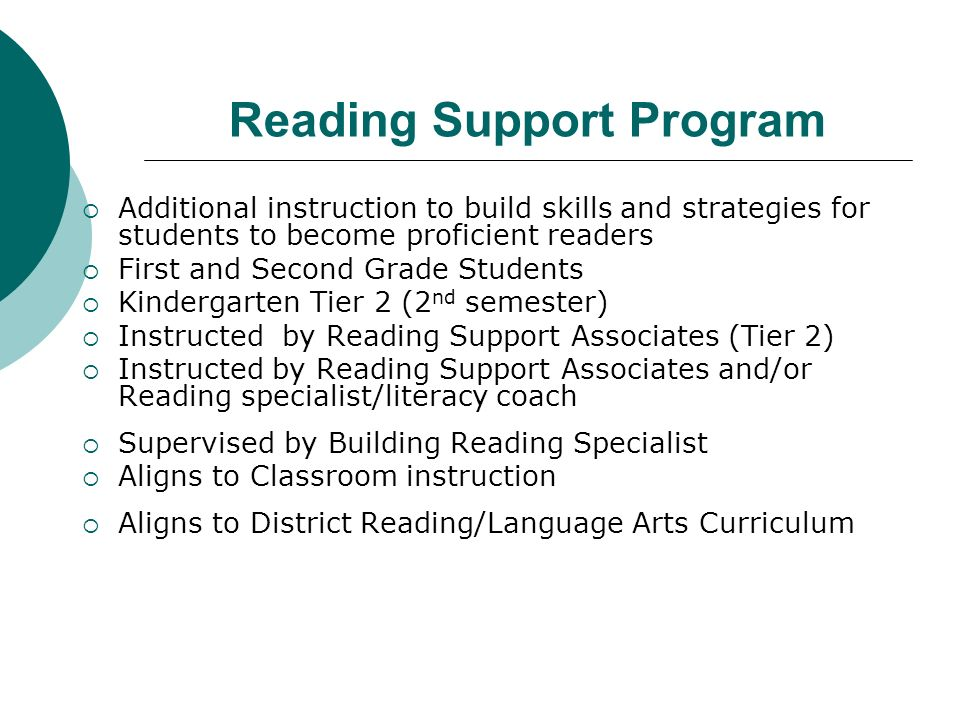Reading Support Program Additional instruction to build skills and strategies for students to become proficient readers First and Second Grade Students Kindergarten Tier 2 (2 nd semester) Instructed by Reading Support Associates (Tier 2) Instructed by Reading Support Associates and/or Reading specialist/literacy coach Supervised by Building Reading Specialist Aligns to Classroom instruction Aligns to District Reading/Language Arts Curriculum