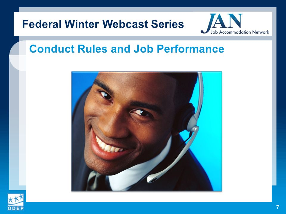 Federal Winter Webcast Series Conduct Rules and Job Performance 7