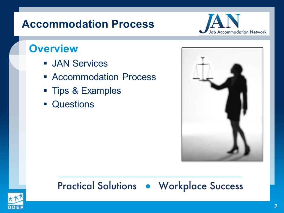 Accommodation Process Overview JAN Services Accommodation Process Tips & Examples Questions 2