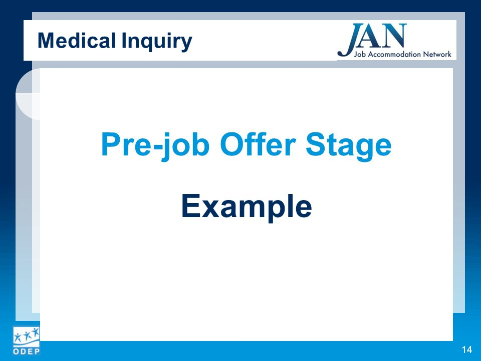 Medical Inquiry Pre-job Offer Stage Example 14