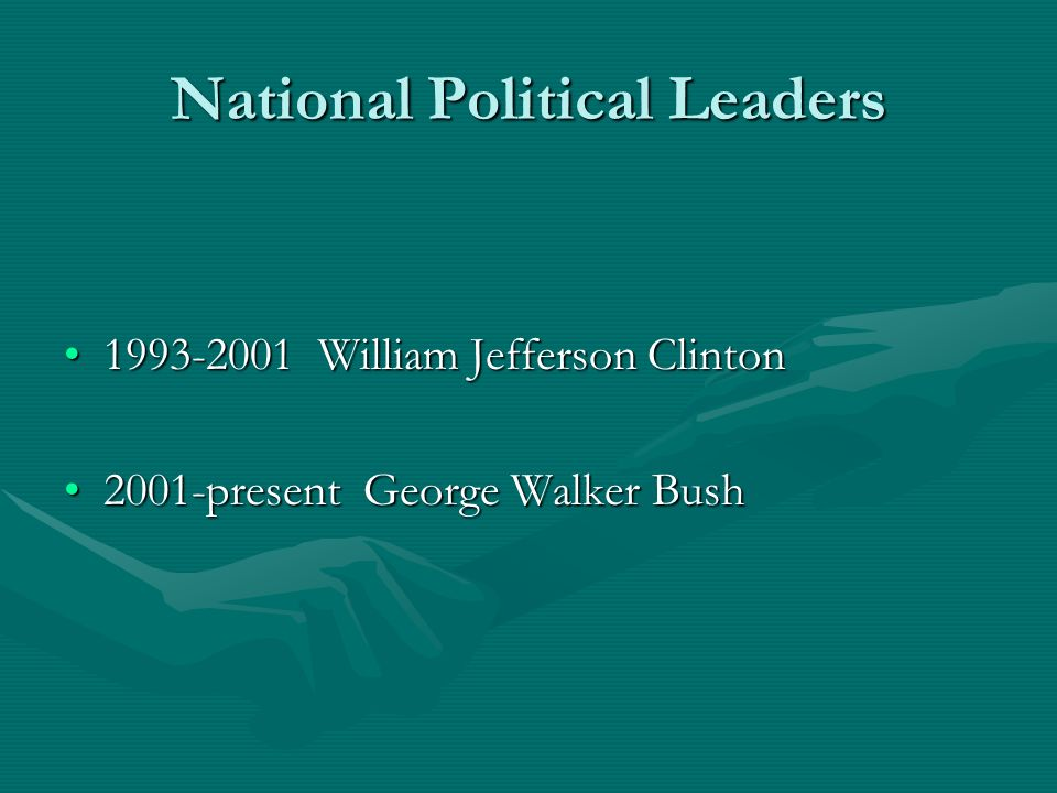 National Political Leaders 1993-2001 William Jefferson Clinton1993-2001 William Jefferson Clinton 2001-present George Walker Bush2001-present George Walker Bush