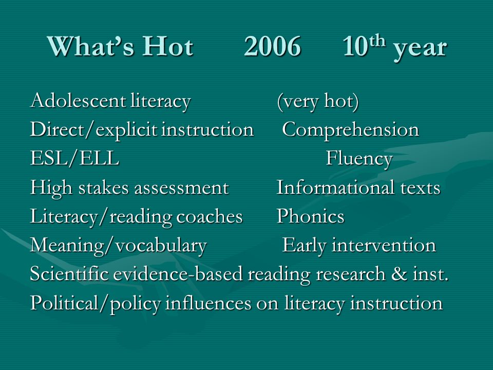 Whats Hot 200610 th year Adolescent literacy(very hot) Direct/explicit instruction Comprehension ESL/ELLFluency High stakes assessmentInformational texts Literacy/reading coachesPhonics Meaning/vocabulary Early intervention Scientific evidence-based reading research & inst.