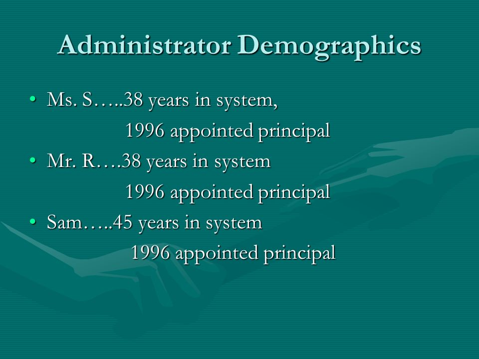 Administrator Demographics Ms. S…..38 years in system,Ms.