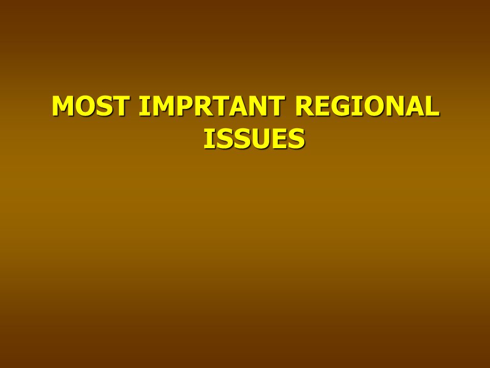 MOST IMPRTANT REGIONAL ISSUES