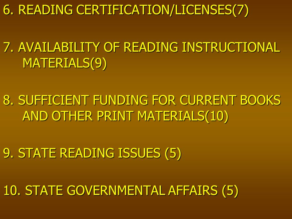 6. READING CERTIFICATION/LICENSES(7) 7. AVAILABILITY OF READING INSTRUCTIONAL MATERIALS(9) 8.