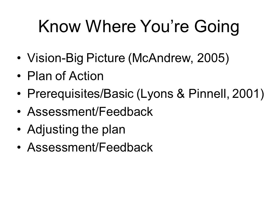 Know Where Youre Going Vision-Big Picture (McAndrew, 2005) Plan of Action Prerequisites/Basic (Lyons & Pinnell, 2001) Assessment/Feedback Adjusting the plan Assessment/Feedback