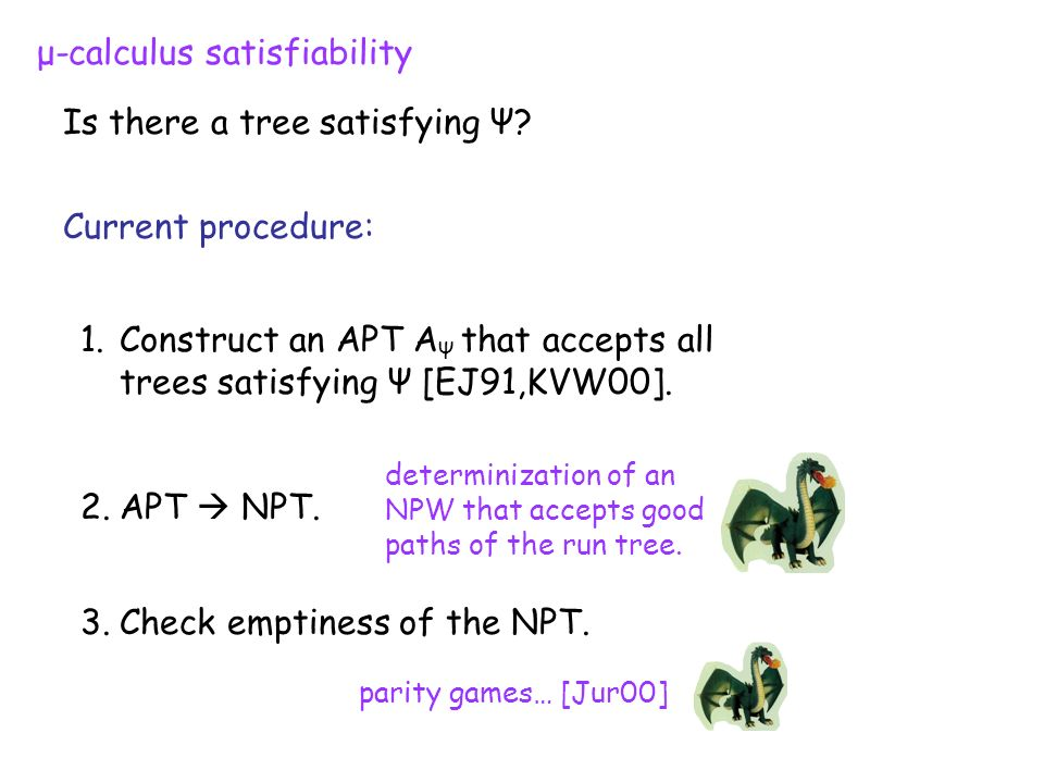 μ-calculus satisfiability Is there a tree satisfying Ψ.
