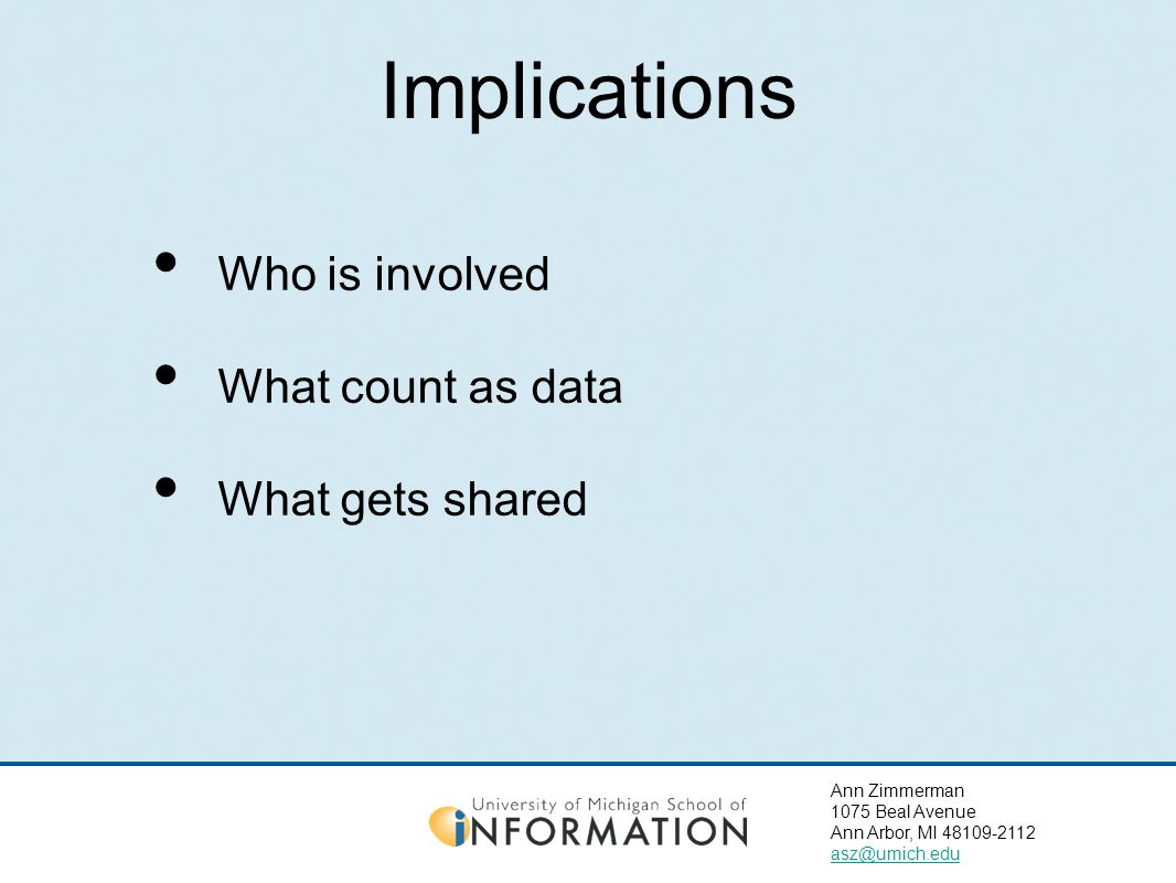 Ann Zimmerman 1075 Beal Avenue Ann Arbor, MI 48109-2112 asz@umich.edu Implications Who is involved What count as data What gets shared
