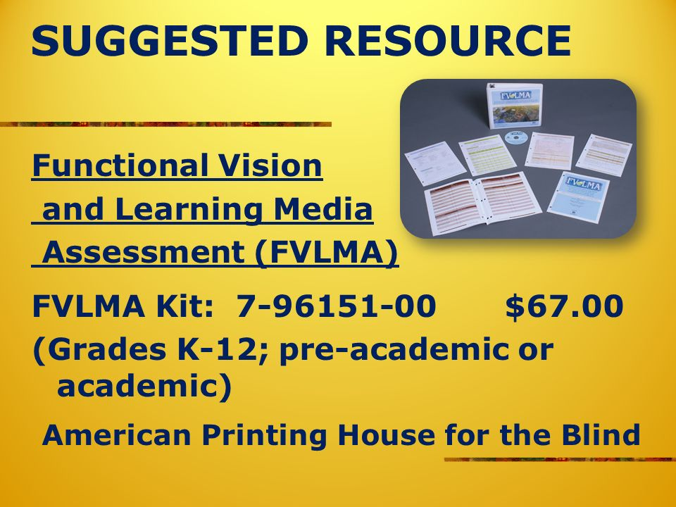 SUGGESTED RESOURCE Functional Vision and Learning Media Assessment (FVLMA) FVLMA Kit: 7-96151-00$67.00 (Grades K-12; pre-academic or academic) American Printing House for the Blind