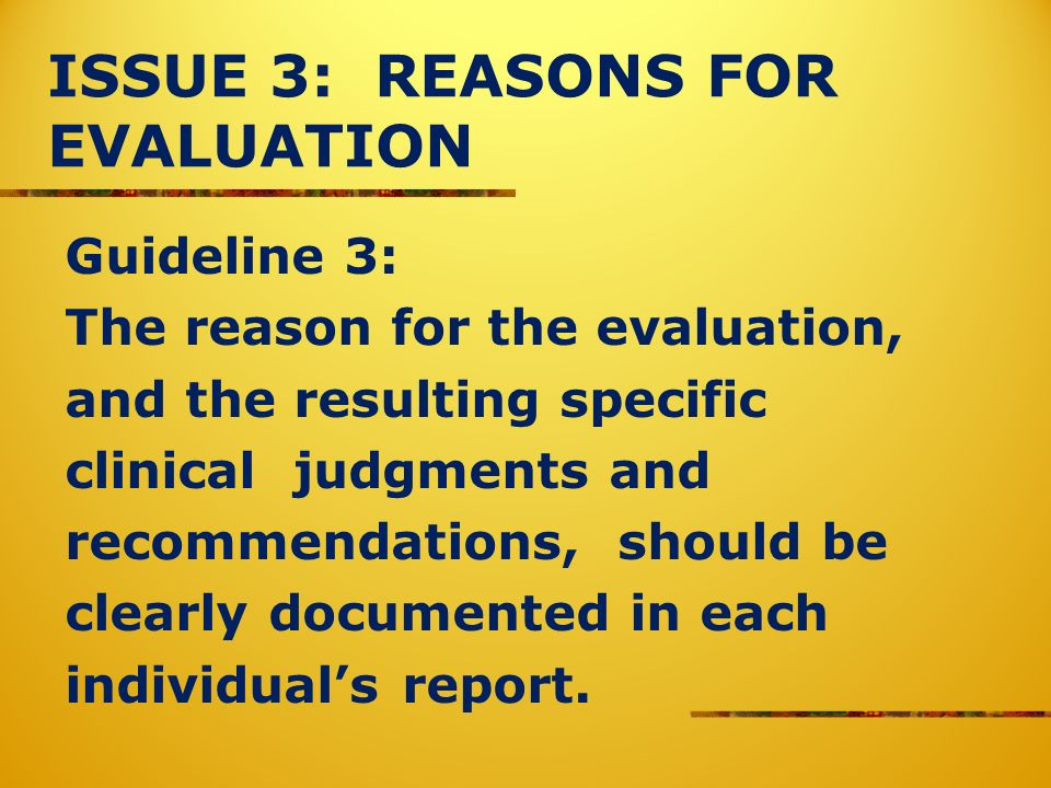 ISSUE 3: REASONS FOR EVALUATION Guideline 3: The reason for the evaluation, and the resulting specific clinical judgments and recommendations, should be clearly documented in each individuals report.