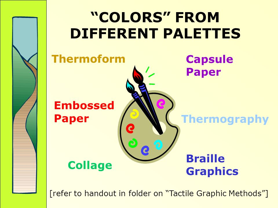 COLORS FROM DIFFERENT PALETTES Capsule Paper Thermoform Embossed Paper Thermography Collage Braille Graphics [refer to handout in folder on Tactile Graphic Methods]