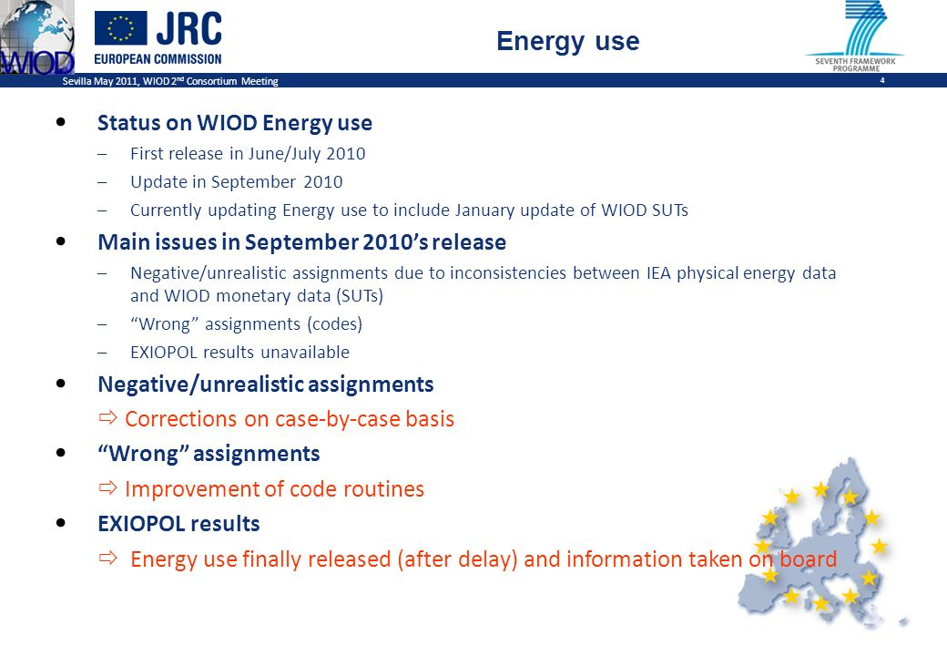 Sevilla May 2011, WIOD 2 nd Consortium Meeting 4 Energy use Status on WIOD Energy use –First release in June/July 2010 –Update in September 2010 –Currently updating Energy use to include January update of WIOD SUTs Main issues in September 2010s release –Negative/unrealistic assignments due to inconsistencies between IEA physical energy data and WIOD monetary data (SUTs) –Wrong assignments (codes) –EXIOPOL results unavailable Negative/unrealistic assignments Corrections on case-by-case basis Wrong assignments Improvement of code routines EXIOPOL results Energy use finally released (after delay) and information taken on board