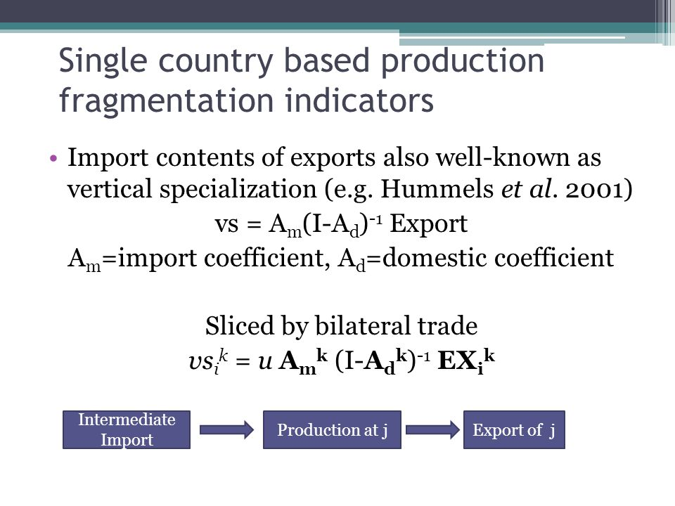Single country based production fragmentation indicators Import contents of exports also well-known as vertical specialization (e.g.