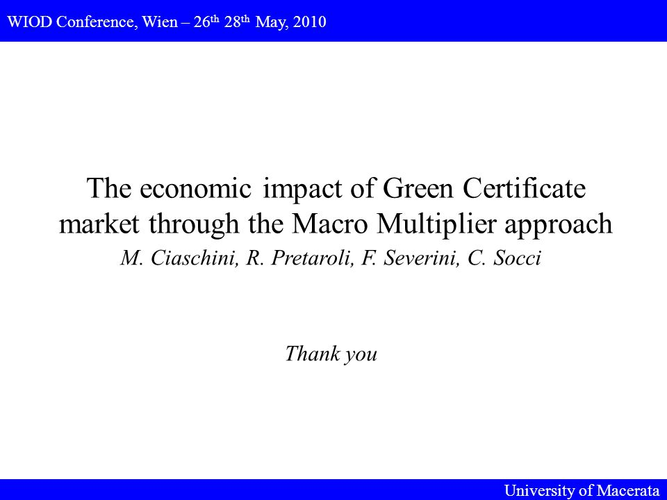 The economic impact of Green Certificate market through the Macro Multiplier approach M.