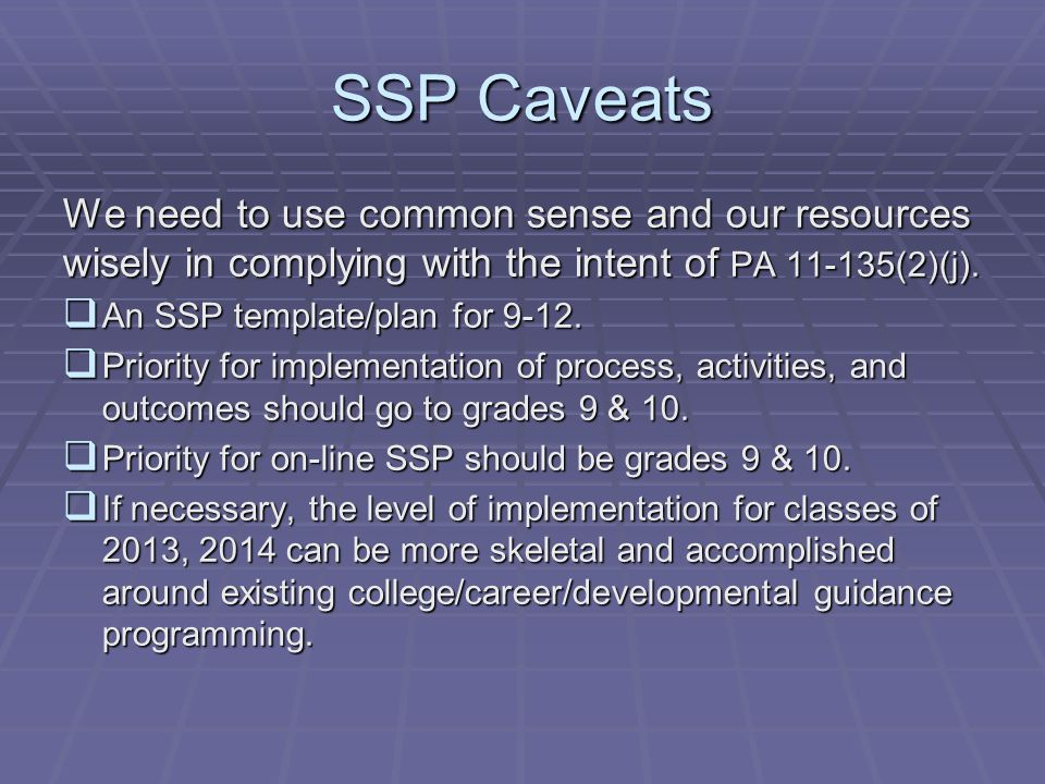 SSP Caveats We need to use common sense and our resources wisely in complying with the intent of PA 11-135(2)(j).