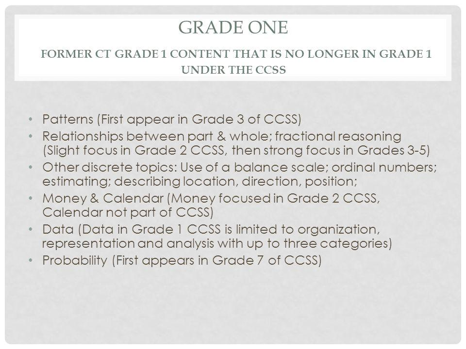 GRADE ONE FORMER CT GRADE 1 CONTENT THAT IS NO LONGER IN GRADE 1 UNDER THE CCSS Patterns (First appear in Grade 3 of CCSS) Relationships between part & whole; fractional reasoning (Slight focus in Grade 2 CCSS, then strong focus in Grades 3-5) Other discrete topics: Use of a balance scale; ordinal numbers; estimating; describing location, direction, position; Money & Calendar (Money focused in Grade 2 CCSS, Calendar not part of CCSS) Data (Data in Grade 1 CCSS is limited to organization, representation and analysis with up to three categories) Probability (First appears in Grade 7 of CCSS)