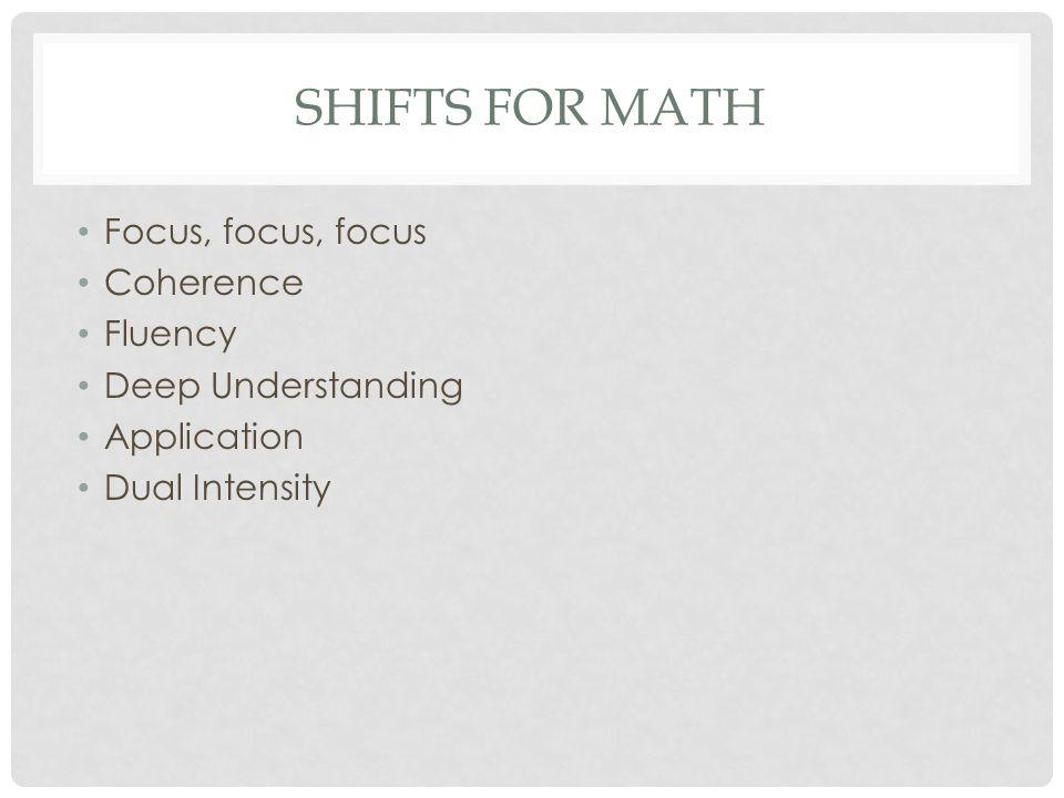 SHIFTS FOR MATH Focus, focus, focus Coherence Fluency Deep Understanding Application Dual Intensity