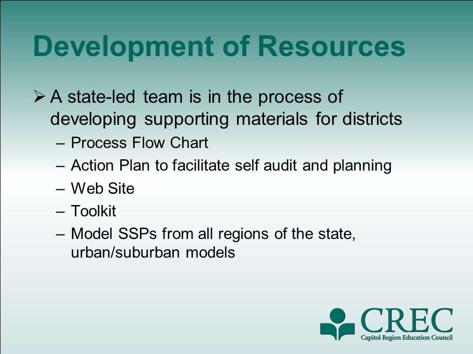 Development of Resources A state-led team is in the process of developing supporting materials for districts –Process Flow Chart –Action Plan to facilitate self audit and planning –Web Site –Toolkit –Model SSPs from all regions of the state, urban/suburban models