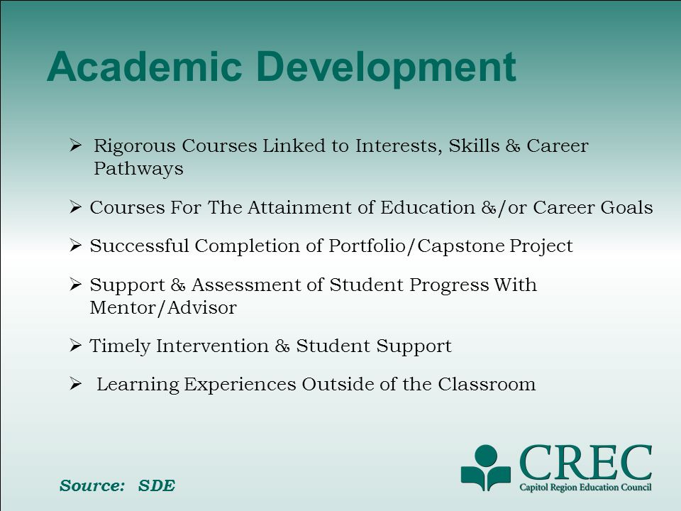 Academic Development Rigorous Courses Linked to Interests, Skills & Career Pathways Courses For The Attainment of Education &/or Career Goals Successful Completion of Portfolio/Capstone Project Support & Assessment of Student Progress With Mentor/Advisor Timely Intervention & Student Support Learning Experiences Outside of the Classroom Source: SDE
