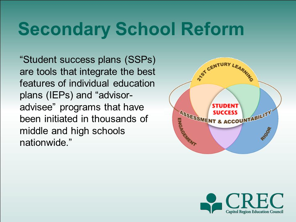 Secondary School Reform Student success plans (SSPs) are tools that integrate the best features of individual education plans (IEPs) and advisor- advisee programs that have been initiated in thousands of middle and high schools nationwide.