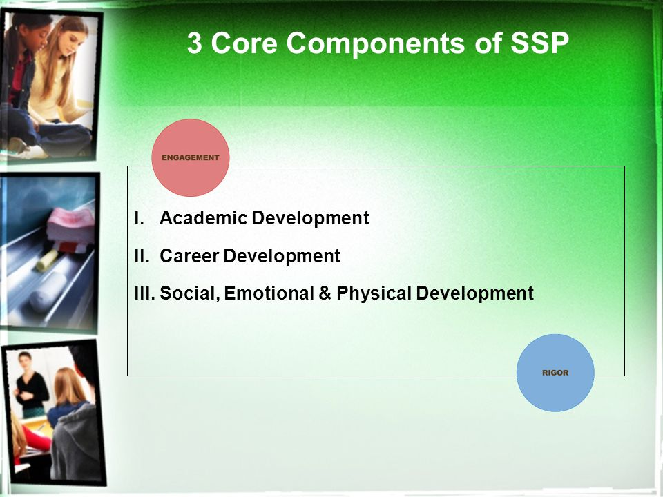 3 Core Components of SSP l. Academic Development ll.