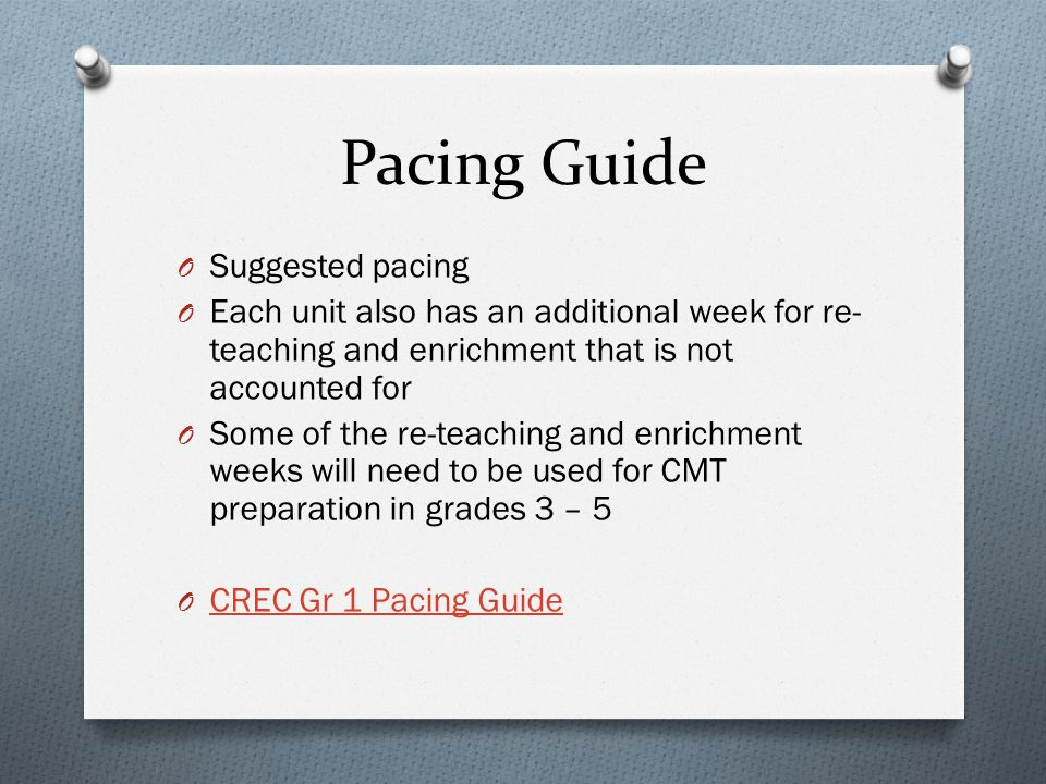 Pacing Guide O Suggested pacing O Each unit also has an additional week for re- teaching and enrichment that is not accounted for O Some of the re-teaching and enrichment weeks will need to be used for CMT preparation in grades 3 – 5 O CREC Gr 1 Pacing Guide CREC Gr 1 Pacing Guide