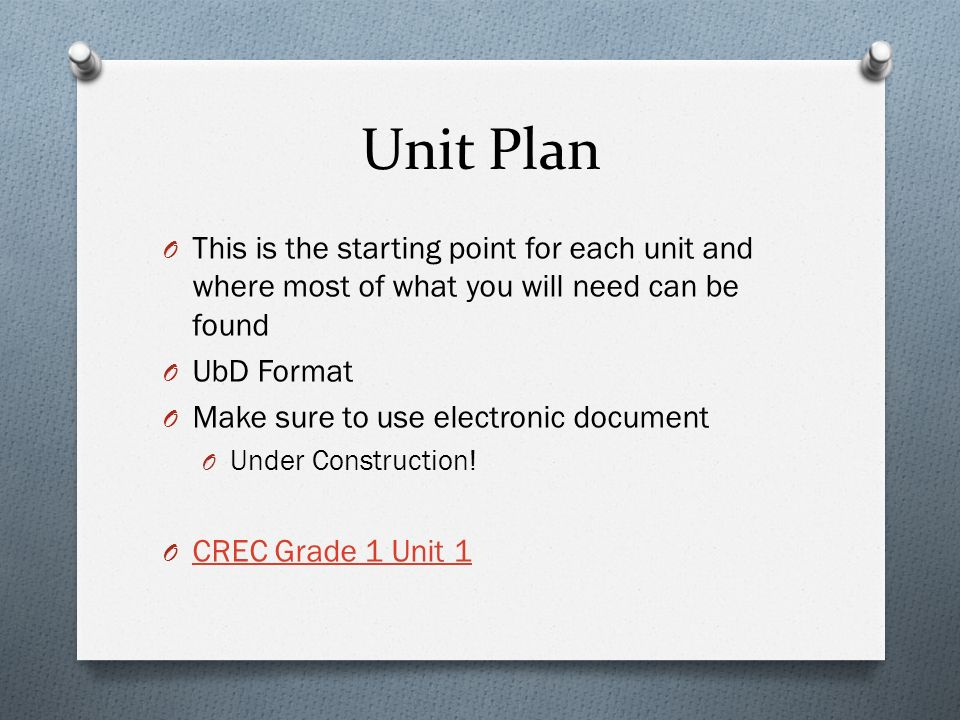 Unit Plan O This is the starting point for each unit and where most of what you will need can be found O UbD Format O Make sure to use electronic document O Under Construction.