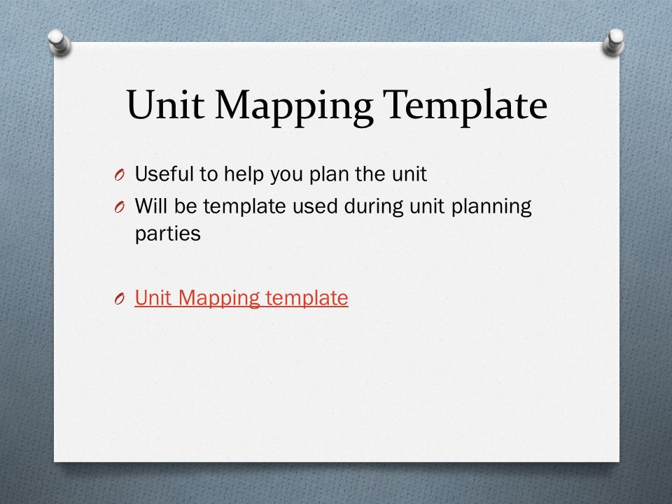 Unit Mapping Template O Useful to help you plan the unit O Will be template used during unit planning parties O Unit Mapping template Unit Mapping template