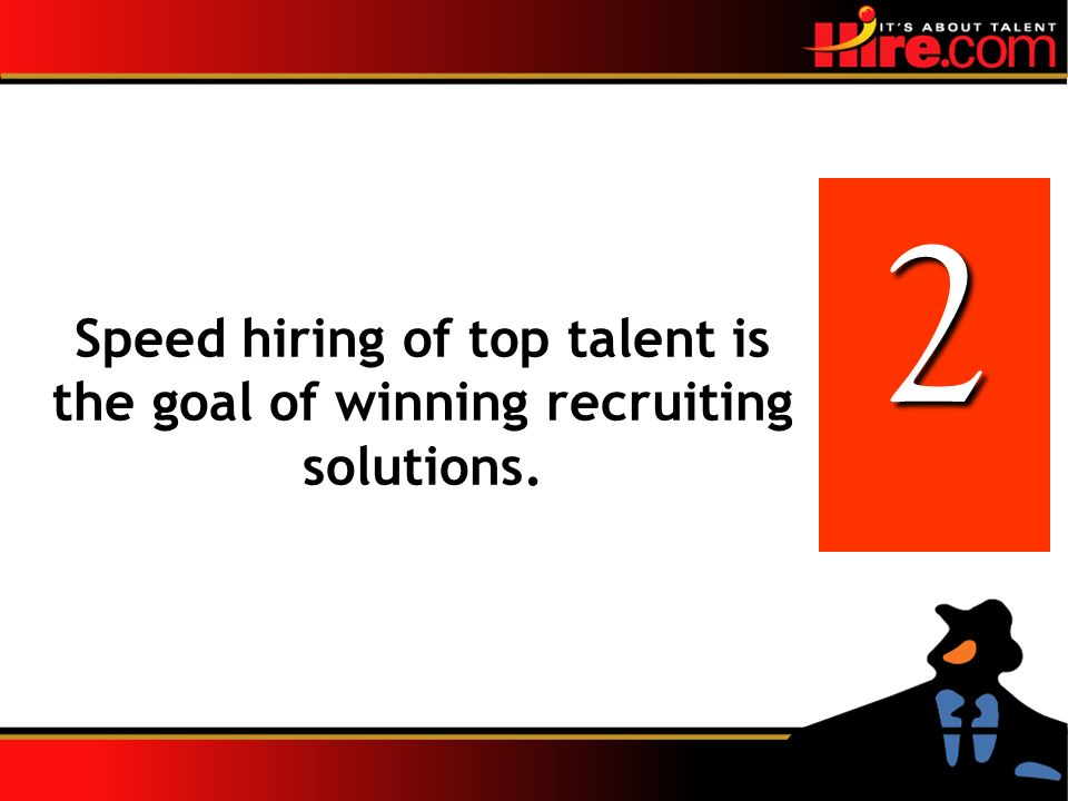 2 Speed hiring of top talent is the goal of winning recruiting solutions.
