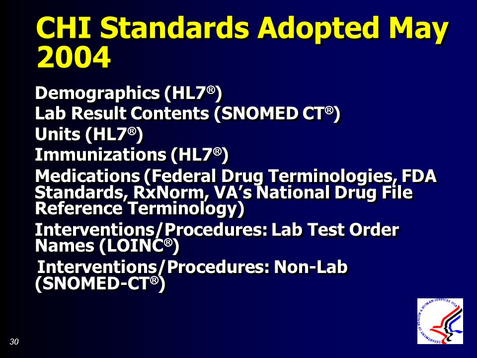 30 CHI Standards Adopted May 2004 Demographics (HL7 ® ) Lab Result Contents (SNOMED CT ® ) Units (HL7 ® ) Immunizations (HL7 ® ) Medications (Federal Drug Terminologies, FDA Standards, RxNorm, VAs National Drug File Reference Terminology) Interventions/Procedures: Lab Test Order Names (LOINC ® ) Interventions/Procedures: Non-Lab (SNOMED-CT ® ) Demographics (HL7 ® ) Lab Result Contents (SNOMED CT ® ) Units (HL7 ® ) Immunizations (HL7 ® ) Medications (Federal Drug Terminologies, FDA Standards, RxNorm, VAs National Drug File Reference Terminology) Interventions/Procedures: Lab Test Order Names (LOINC ® ) Interventions/Procedures: Non-Lab (SNOMED-CT ® )