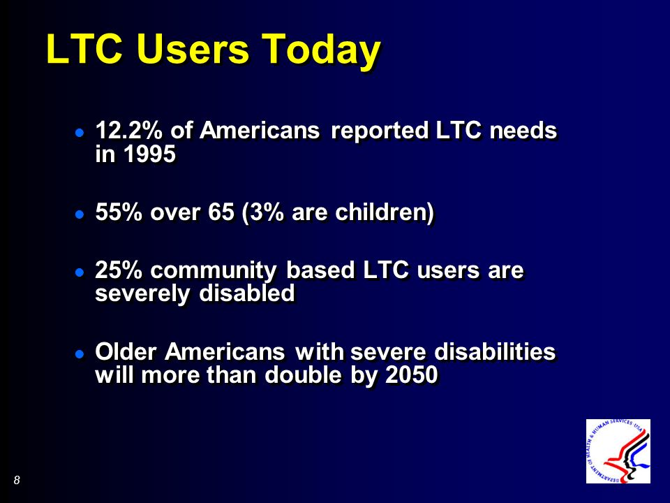 8 8 LTC Users Today l 12.2% of Americans reported LTC needs in 1995 l 55% over 65 (3% are children) l 25% community based LTC users are severely disabled l Older Americans with severe disabilities will more than double by 2050 l 12.2% of Americans reported LTC needs in 1995 l 55% over 65 (3% are children) l 25% community based LTC users are severely disabled l Older Americans with severe disabilities will more than double by 2050